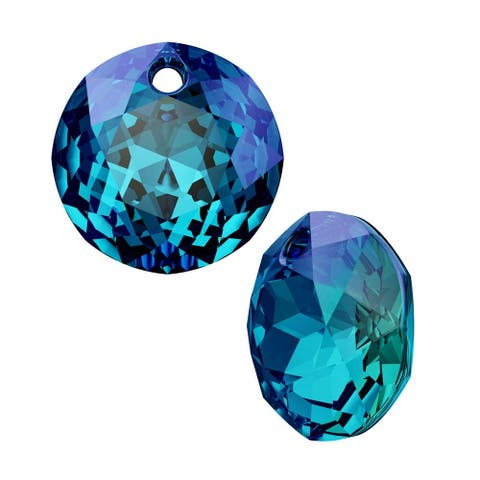 Swarovski elements Crystal, 6430 Round Classic Cut Pendants 10mm, 2 Pieces, Crystal Bermuda Blue P