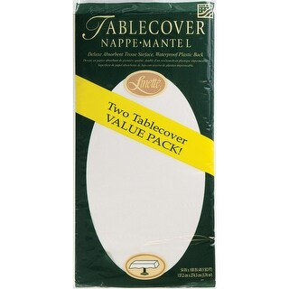 Club Pack of 72 Green and White Decorative Linnette Table Cover 14.5""