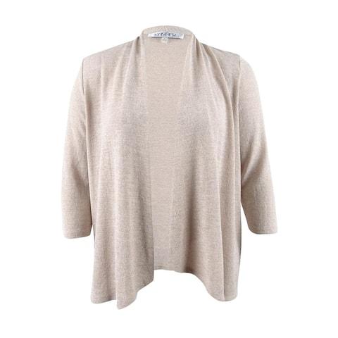 Kasper Women's Metal Ruched Cardigan Sweater (L, Sand Multi) - Sand Multi - L