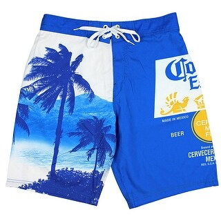 Corona Extra Bottle Label & Palm Trees Men's Blue Swim Board Shorts