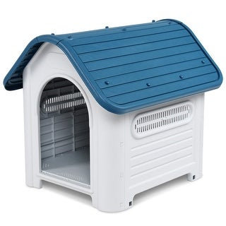 Gymax Plastic Pet Dog House Puppy Shelter Roof Skylight Waterproof Indoor Outdoor Blue