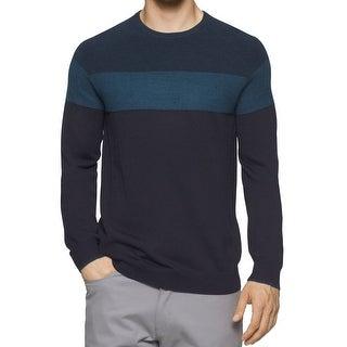Calvin Klein NEW Blue Mens XL Colorblock Crewneck Wool Knit Sweater