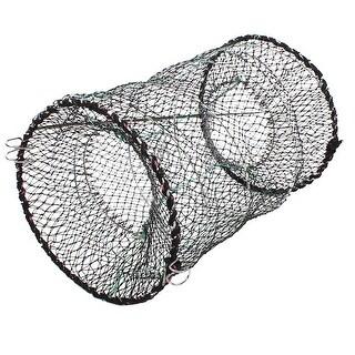 "Unique Bargains 10"" x 16"" Nylon Metal Foldable Fishing Landing Net Fish Keepnet Cage Black Green Silver Tone"