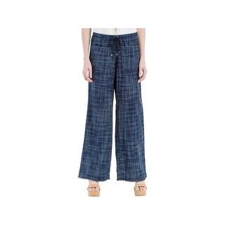 Max Studio Womens Lounge Pants Cotton Frayed Hem