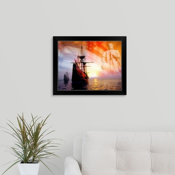 """""""Sailing ships, statue of Christopher Columbus and American flag"""" Black Framed Print"""