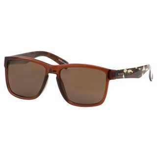 Perry Ellis Mens Plastic Sunglasses Camo/Brown PE70-2, Includes Perry Ellis Pouch, 100% UV Protection - Brown