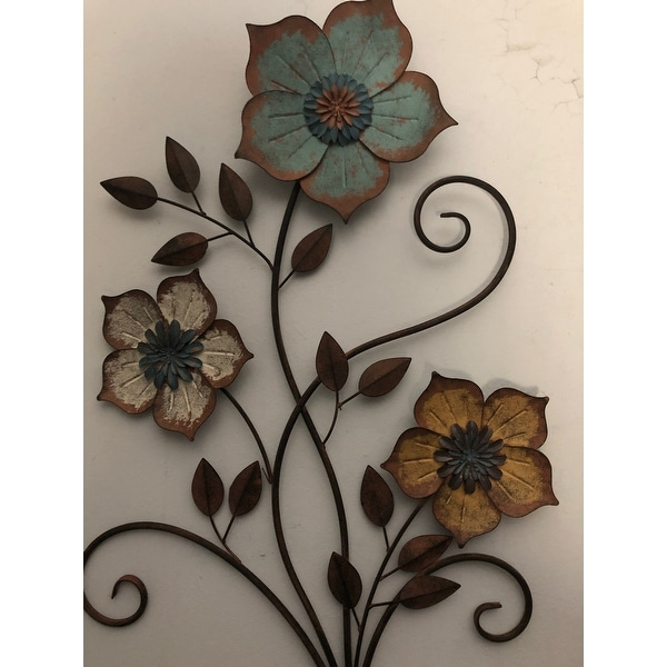 Stratton Home Decor Tricolor Metal Flower Wall Art Overstock 12874843
