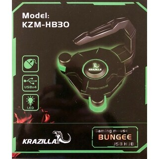 NEW - KRAZILLA KZM-HB30 GAMING MOUSE BUNGEE + USB3.0 HUB Green