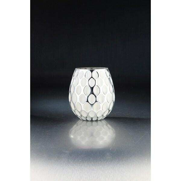 "8.5"" White and Clear Handblown Glass Tabletop Decor - N/A"