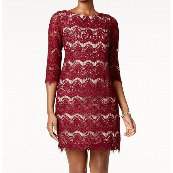Jessica Howard Burgundy Womens Floral Lace Sheath Dress