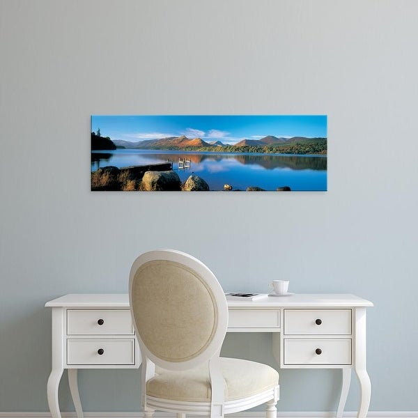 Easy Art Prints Panoramic Image 'Reflection of mountains in water, Derwent Water, Lake District, England' Canvas Art