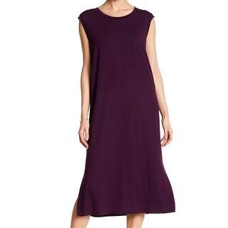 Eileen Fisher Womens Scoop-Neck Slit Shift Dress