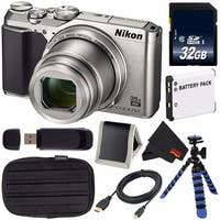 Nikon COOLPIX A900 Digital Camera (Silver) 26505 International Model + EN-EL12 Replacement Battery + 32GB SDHC Card Bundle