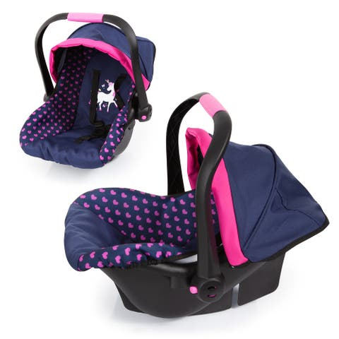 Baby Doll Deluxe Car Seat with Canopy- Blue & Pink