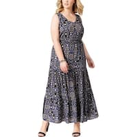 NY Collection Womens Plus Maxi Dress Printed V-Neck