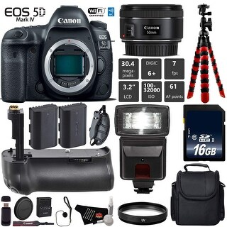 Canon EOS 5D Mark IV DSLR Camera With 50mm f/1.8 STM Lens + Tripod + Professional Battery Grip + Card Reader - Intl Model