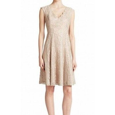 4342602a Shop Eliza J NEW Beige Women's Size 8 Sheath V-Neck Lace Fit & Flare Dress  - Free Shipping On Orders Over $45 - Overstock.com - 20248796