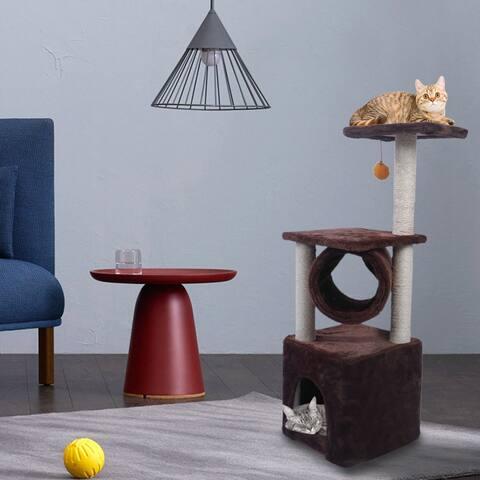 """36"""" Sisal Hemp Cat Tree Kitten Activity Tower Play House"""