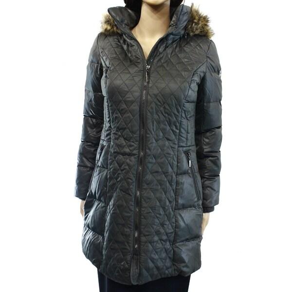 5afacb95a Kensie Gray Faux-Fur Full-Zip Hooded Women's Size XS Puffer Jacket