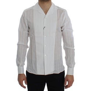Dolce & Gabbana White Square Check Cotton Shirt