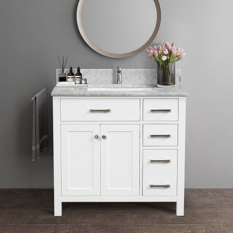 """36"""" Single Solid Wood Bathroom Vanity Set, with Drawers, Carrara White Marble Top, 3 Faucet Hole"""