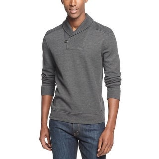INC International Concepts Shawl Collar Sweater Charcoal Gray Medium