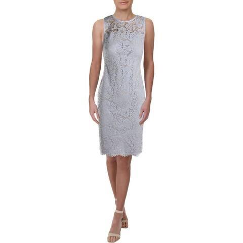 Lauren Ralph Lauren Womens Plus Party Dress Lace Sleeveless - Whisper Blue