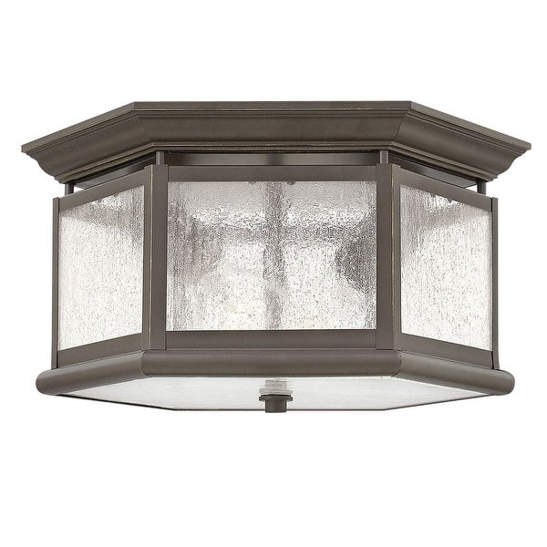 Hinkley Lighting 1683 2-Light Outdoor Flush Mount Ceiling Fixture from the Edgewater Collection - Oil Rubbed Bronze - N/A