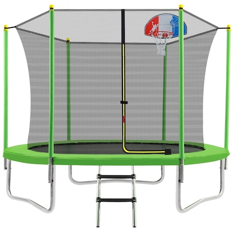 Merax 10FT Round Outdoor Recreational Trampoline with Safety Enclosure Net, Basketball Hoop and Ladder