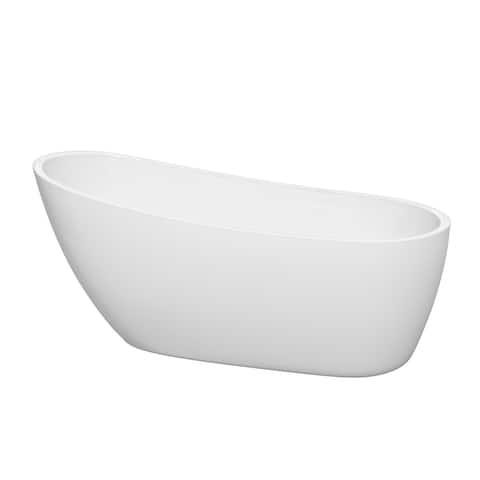 Wyndham Collection Florence 68-inch White Freestanding Soaking Bathtub