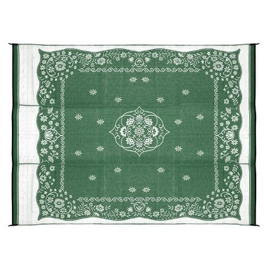 Camco 42850 Reversible Outdoor Mat (9' x 12', Green Oriental) - green oriental
