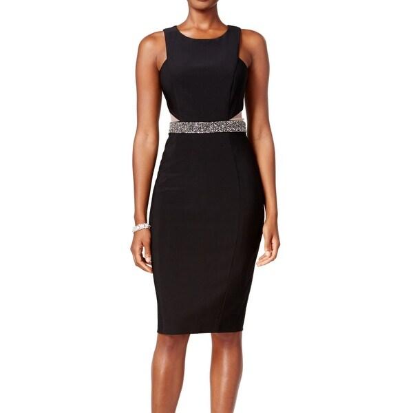 Xscape NEW Black Illusion Mesh Women  x27 s Size 10 Jeweled Sheath Dress 71596b52b675