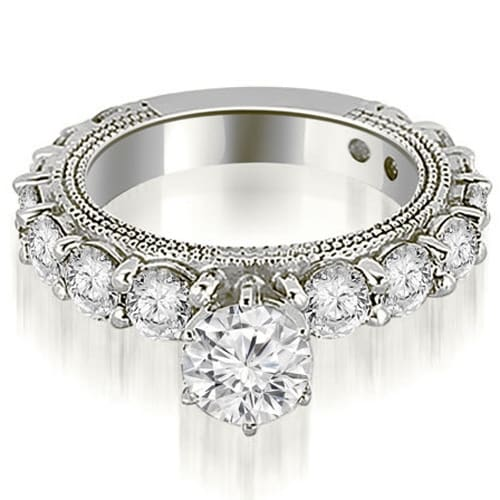 2.50 cttw. 14K White Gold Antique Round Cut Diamond Engagement Ring