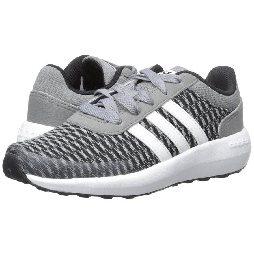adidas NEO Boys' Cloudfoam Race K Running Shoe, BlackWhiteTech Grey