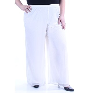 MSK $59 Womens New 1300 Ivory Sparkle Palazzo Pants Plus 2X B+B