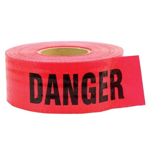 C.H. Hanson 16031 Barricade Danger Tape, Red, Polyethylene, 500'