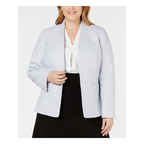 NINE WEST Womens Purple Printed Wear to Work Jacket Size 1X