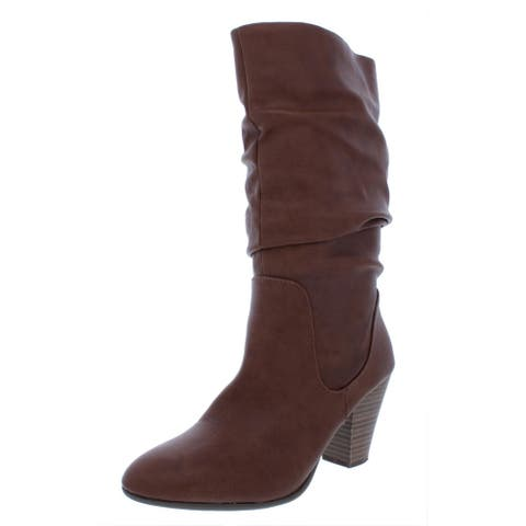 Esprit Womens Oliana Mid-Calf Boots Faux Leather Slouchy