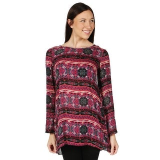 Women's Long Sleeve Tunic Dress - Lace-Stripe Pink Sweater Print Top