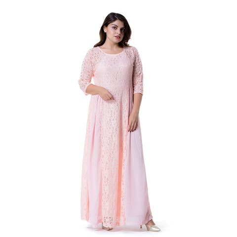 Women's Plus Size Floral Lace 3/4 Sleeve Wedding Maxi Dress