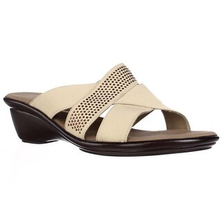 Onex Ariel Wedge Rhinestone Strap Slide Sandals - Tan