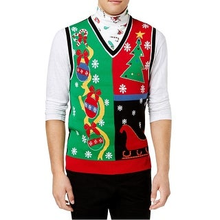 American Rag Red Green Men Medium M Layered Ugly Xmas Sweater Vest
