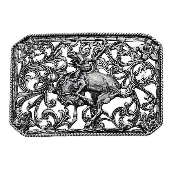 """Vogt Western Mens Trophy Buckle Filigree Sterling Silver - 3"""" x 2 1/8"""""""