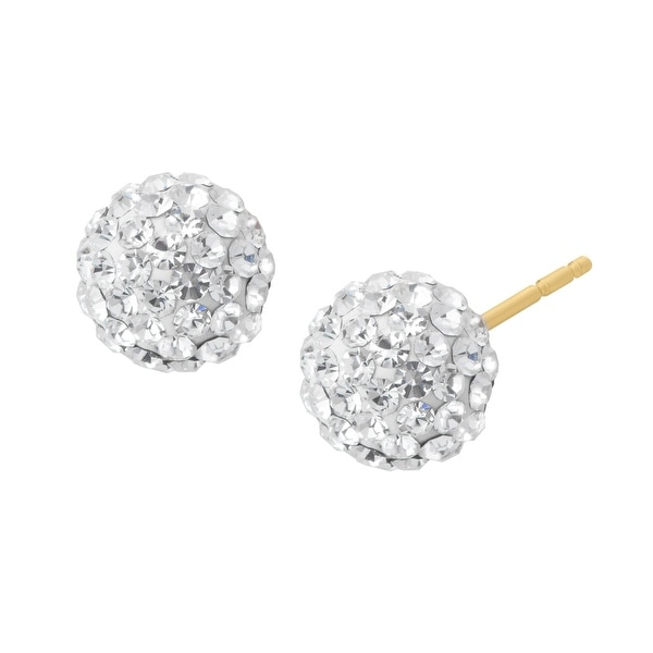 Crystaluxe Glitter Ball Earrings with Swarovski Crystals in 14K Gold