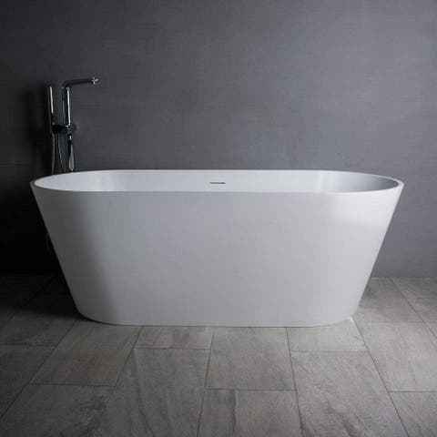 "Vanity Art 65"" Matte Solid Surface Freestanding Bathtub VA6912-ML - 65"