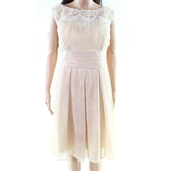571ae9e8e8 Esvor Beige Women's Size 16 Crochet Trim Chidffon A-Line Dress