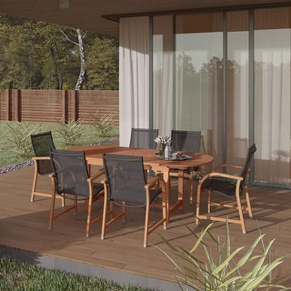 Link to Tottenville 7-piece Weather Resistant Oval Dining Set by Havenside Home Similar Items in Outdoor Dining Sets
