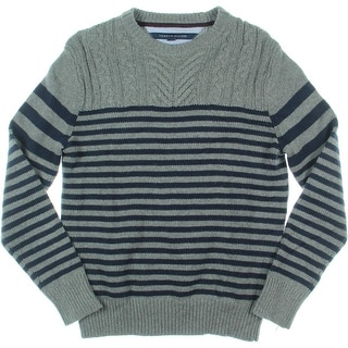 Tommy Hilfiger Mens Wool Blend Cable Knit Pullover Sweater - S