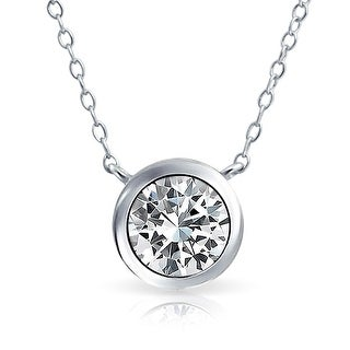 Bling Jewelry .925 Silver 2ct Bezel-Set Round CZ Solitaire Pendant Necklace