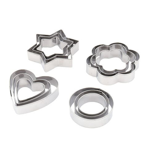 "Metal Star Heart Round Shaped Pastry DIY Cookie Baking Mold 12 in 1 - 3"" x 2.6"" x 0.8""(L*W*H)"